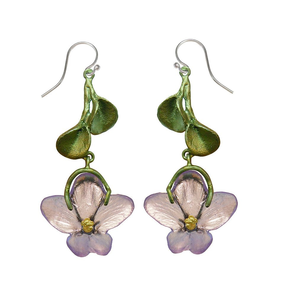Michael Michaud Retired African Violet Wire Earrings 3059 Retail Price $96
