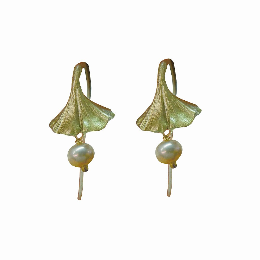 Michael Michaud Retired Gingko with white freshwater pearls Wire Earrings 3126 BZ Retail Price $58