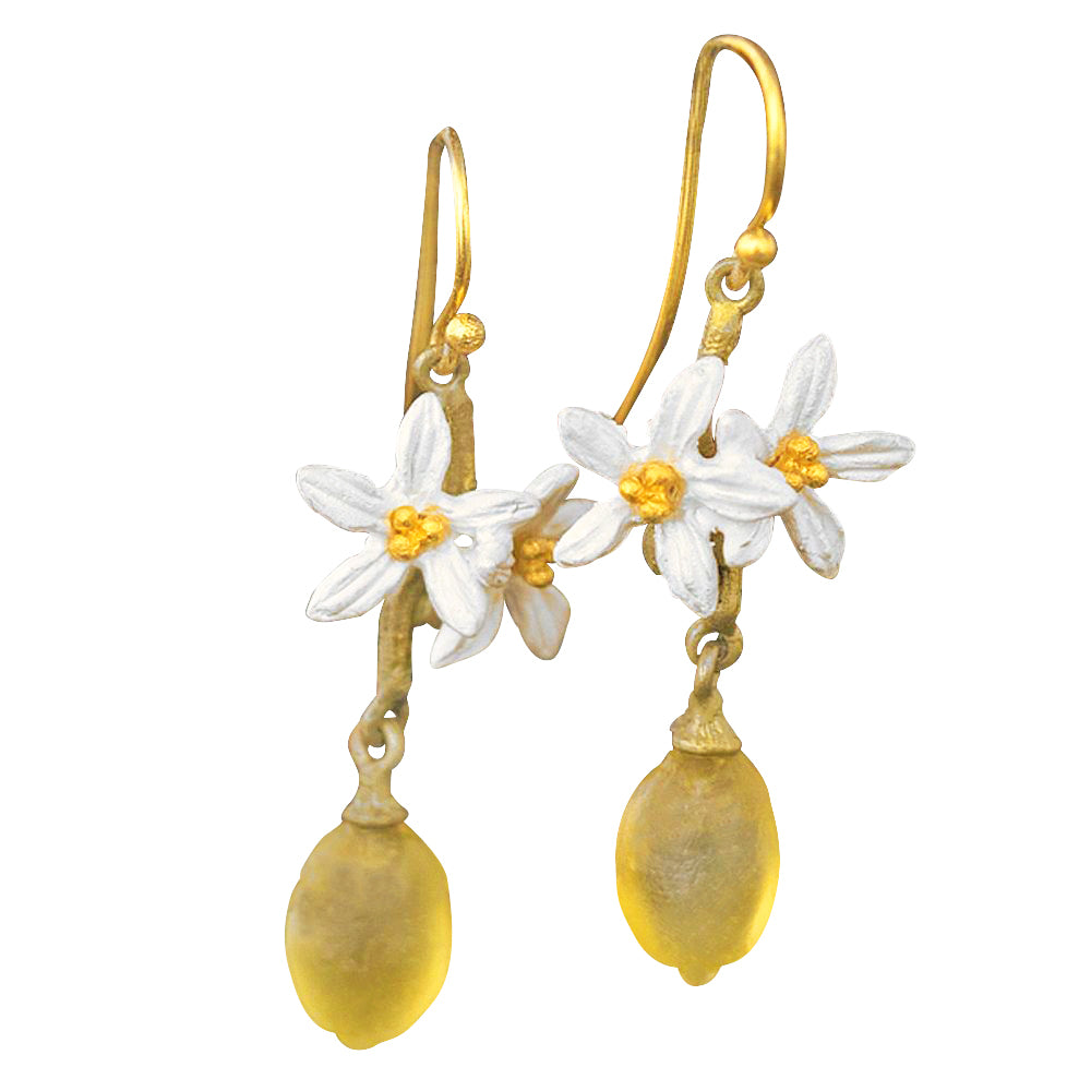 Michael Michaud Lemon Drop with 2 Blossoms Wire Earrings 3318
