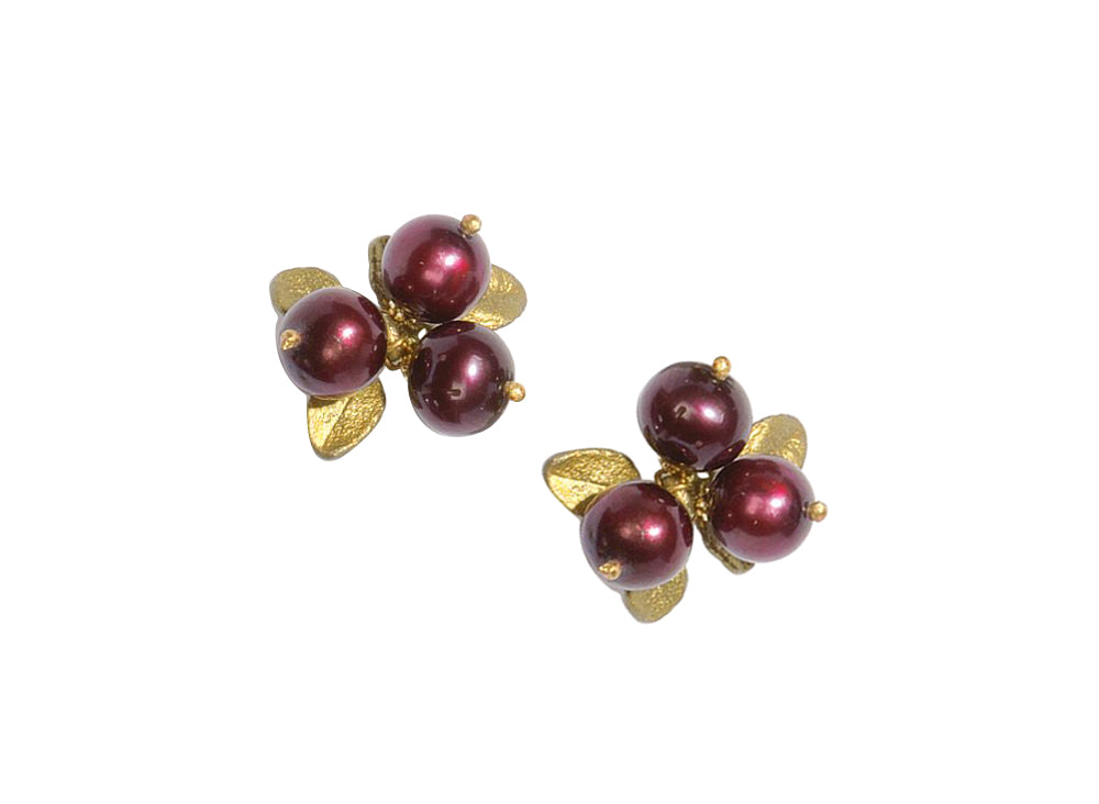 Michael Michaud Retired Cranberry Post Earrings 4410 BZG Retail $69