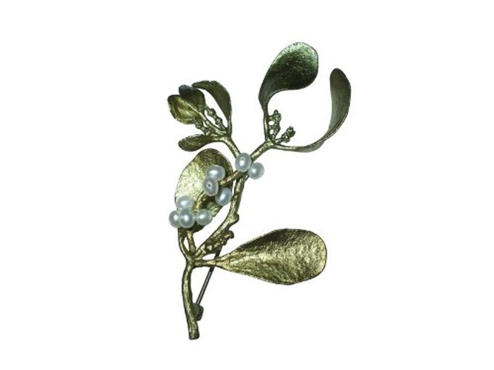 Michael Michaud Silver Seasons Retired Mistletoe Pin 5609 Retail $124