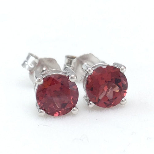 Genuine Garnet 1.3 cttw 5mm 14K white gold Earrings NWT $358