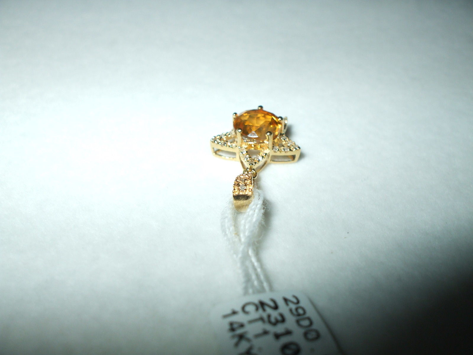 Genuine 1.13 ct. Citrine and Diamond 14K yellow gold Pendant NWT $490