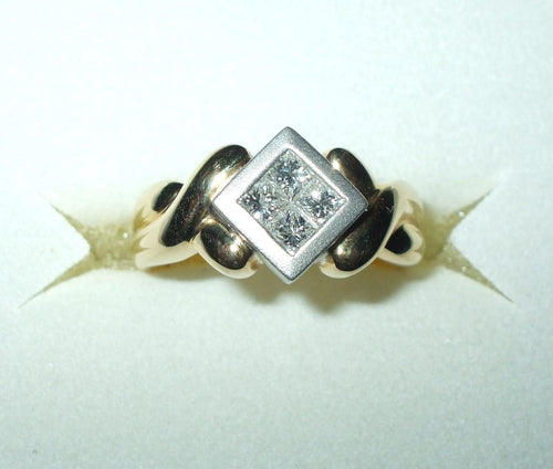 Two Tone Genuine .40 cttw Princess cut Diamond Ring 18K gold $2500 NWT