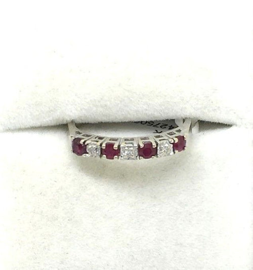 14K white gold and Genuine Ruby & Diamond Ring $520 NWT Size 6 1/4