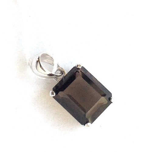 Genuine 2.80 ct. Smoky Topaz Pendant 14K white gold NWT $220