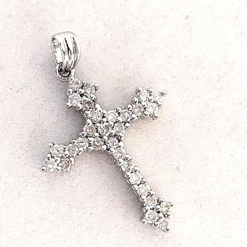 14k White Gold & Genuine Brilliant Diamond Cross Pendant NWT $1175