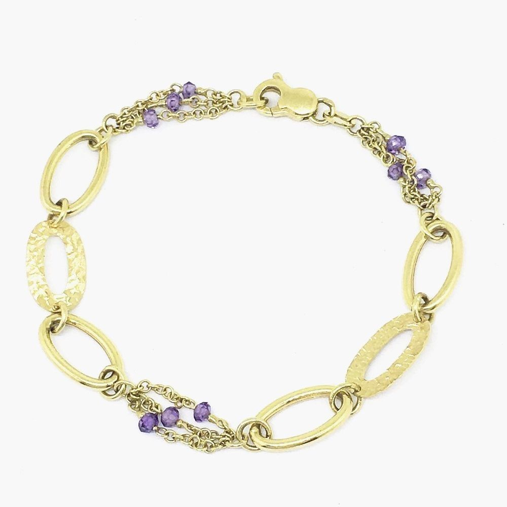 Genuine 14K Yellow Gold & Amethyst Bracelet 5.7 gr., 7 inches $630 NWT
