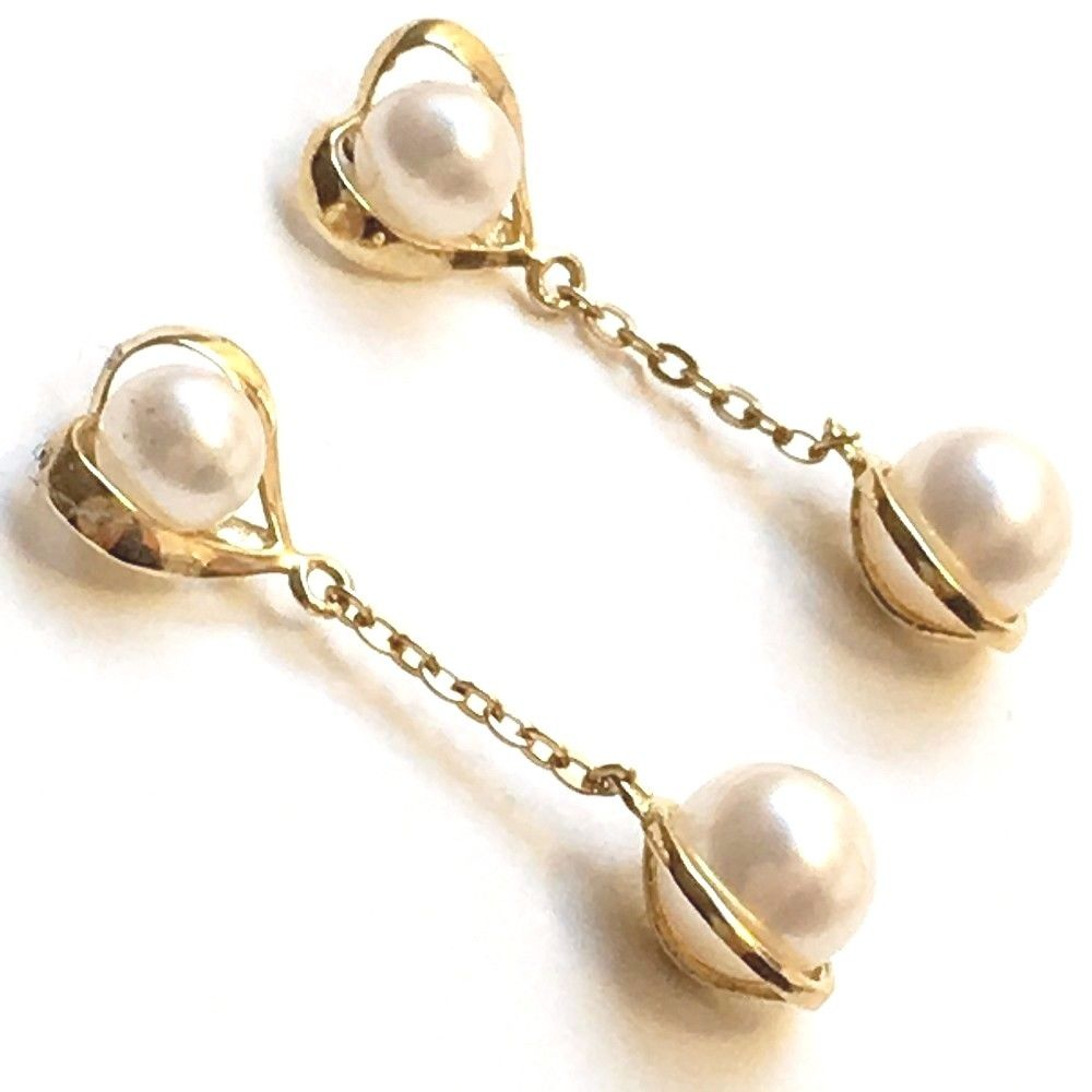 Cultured Pearl Drop Earrings 4-6 mm 14K yellow gold $300