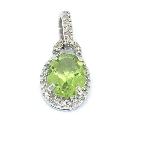Genuine Peridot & Diamond Pendant 14K white gold NWT $700