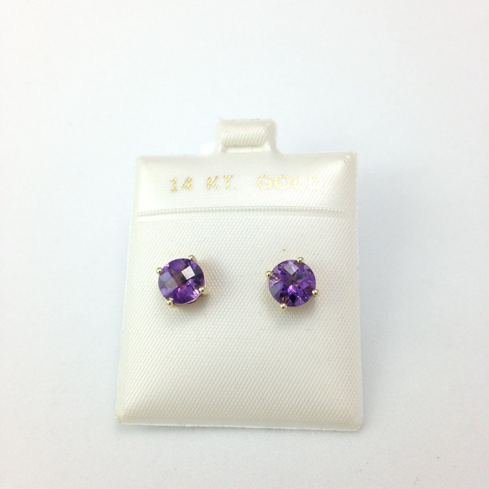 Genuine Amethyst Earrings 7mm 2.3 cttw 14K Yellow Gold NWT $511