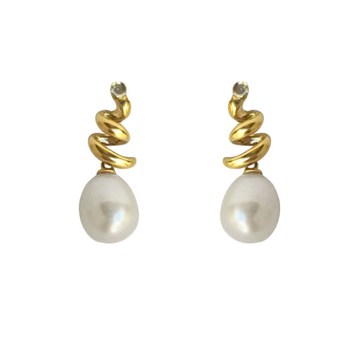 White Freshwater Pearl & Diamond Earrings 14K yellow gold NWT $295