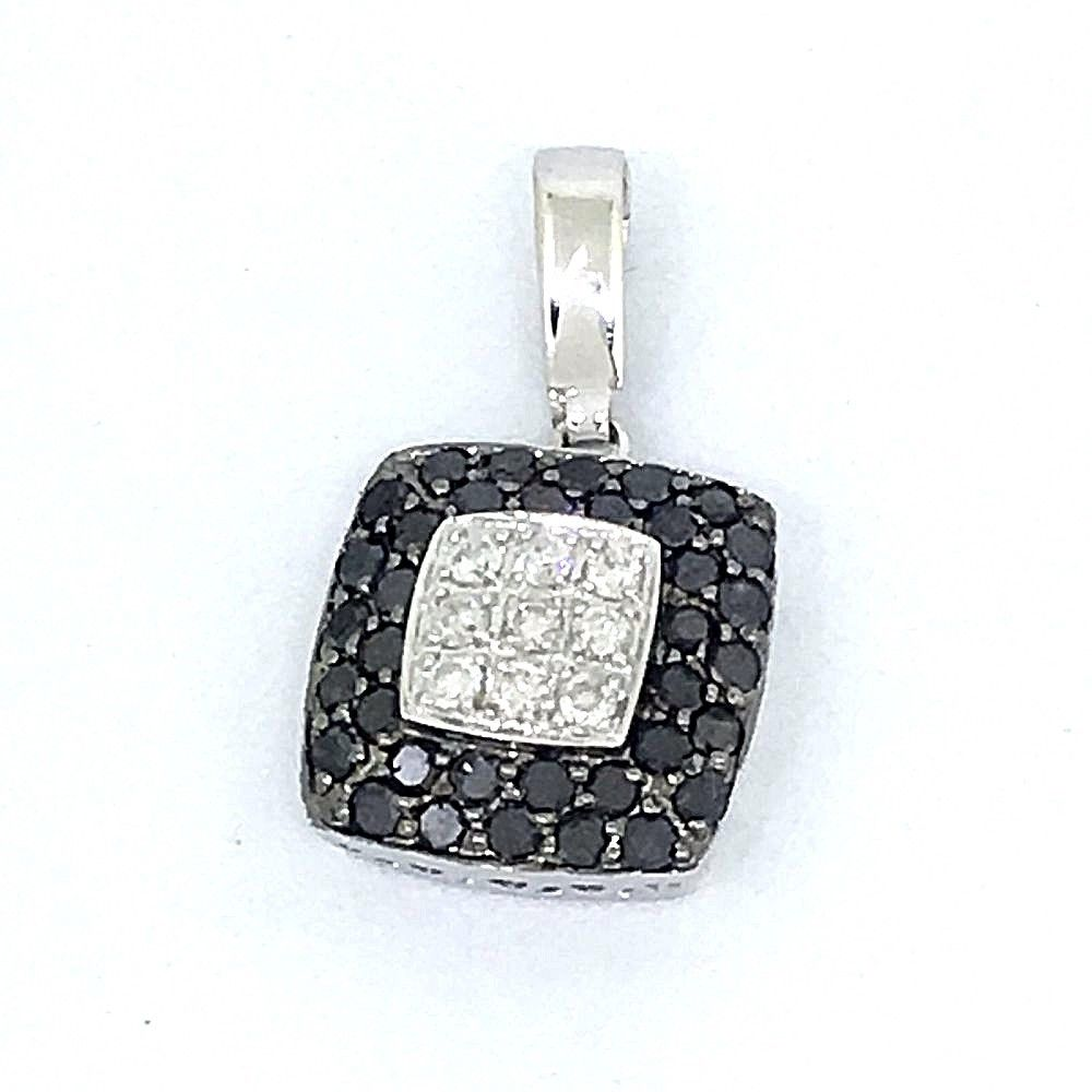 Genuine Black & White Diamond Pendant 14K white gold NWT $900