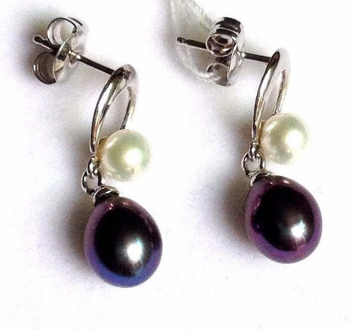 Genuine Black & White Freshwater Pearl Drop Earrings14K white gold $275