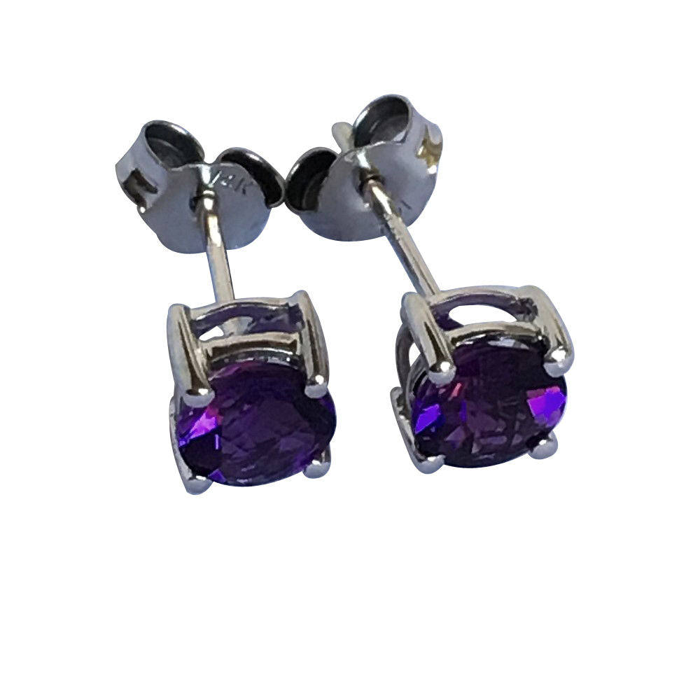 Genuine Amethyst Earrings 5mm, 0.9 cttw 14K 1.0 gr. White Gold NWT $280