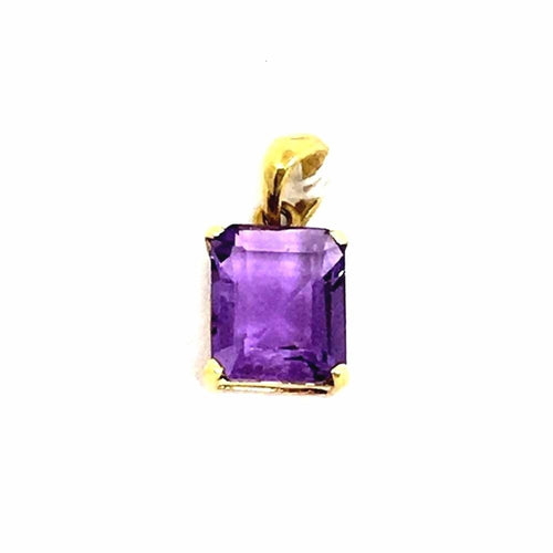 Genuine 2.92 ct Amethyst 14K yellow gold pendant NWT $235