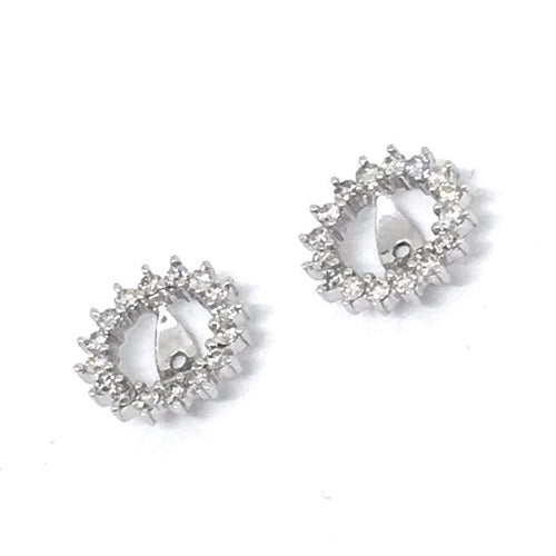 14K White Gold Genuine Diamond Earring Jackets 1.32 grams of gold, NWT $1270