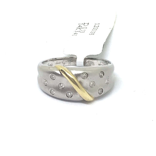 14K Two Tone yellow and white gold Genuine Diamond Ring  $770 NWT Size 7