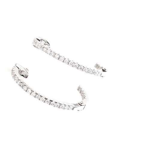 Genuine .35 cttw Diamond Hoop Earrings 18K white gold NWT $1400