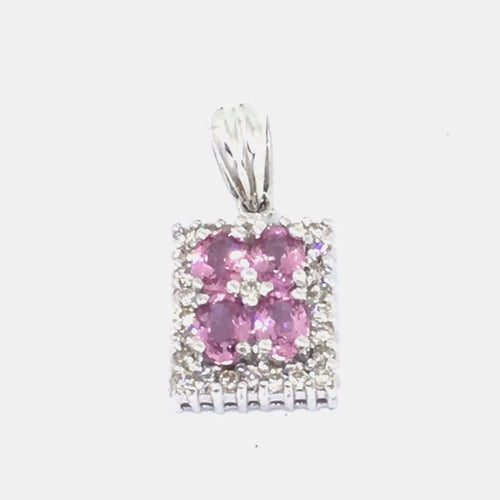 Genuine Pink Sapphire & Diamond Pendant 14K white gold NWT $980