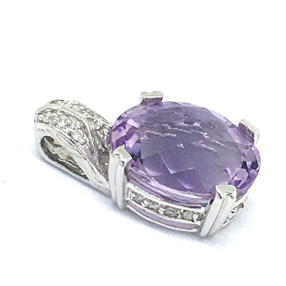 Genuine Oval Amethyst Pendant 14K white gold, 2.3 grams of gold, NWT $700