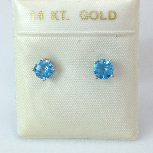 Round Blue Topaz Earrings 2 ct 6mm 14K white gold $390