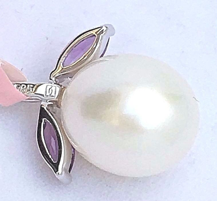 14K white gold Freshwater Pearl & Genuine Amethyst Pendant NWT $340