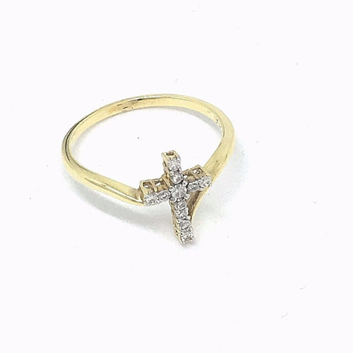 14K Yellow Gold Diamond Cross Ring, Size 7 NWT $900