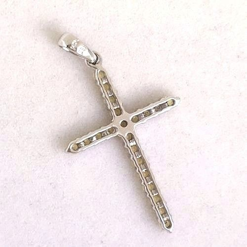 14k White Gold & Genuine Yellow Sapphire Cross Pendant NWT $590