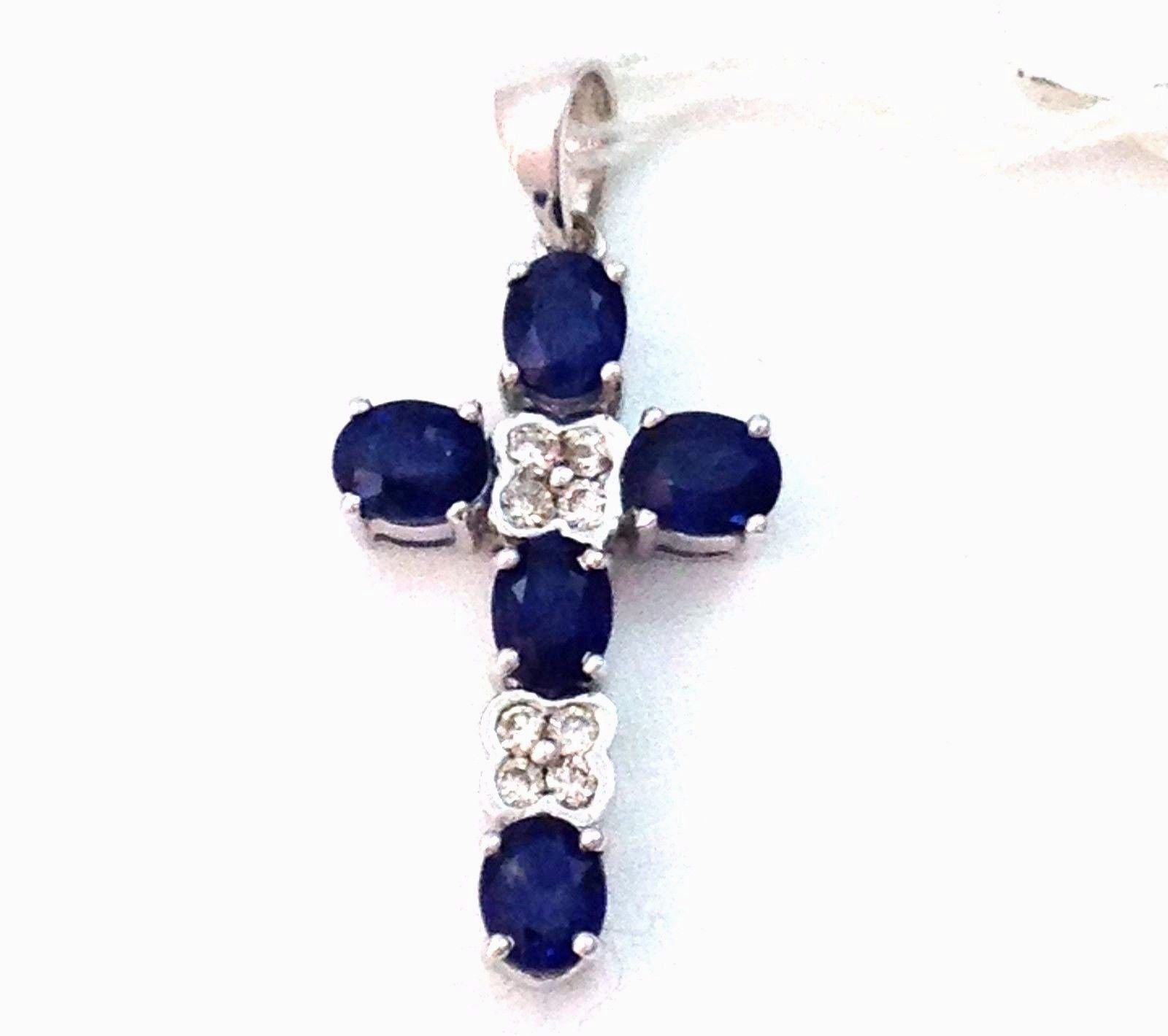 Genuine 2.09 cttw Sapphire & Diamond Cross Pendant 14K white gold NWT $1100