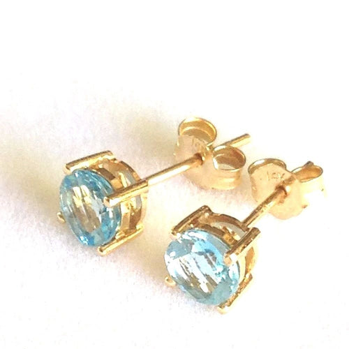 Genuine Blue Topaz Stud Earrings .90cttw 5mm 14K yellow gold $360
