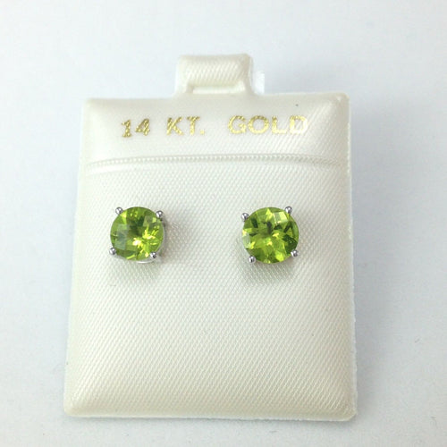 Genuine Peridot Earrings 7mm 2.8 cttw 14K White Gold NWT $706