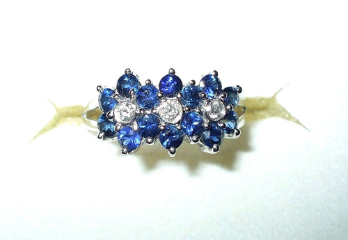 Genuine Blue Sapphires & Diamond Ring 18K white gold $2520 NWT