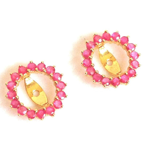 Genuine Ruby Earring Jackets 1.16 cttw 14K yellow gold NWT $400