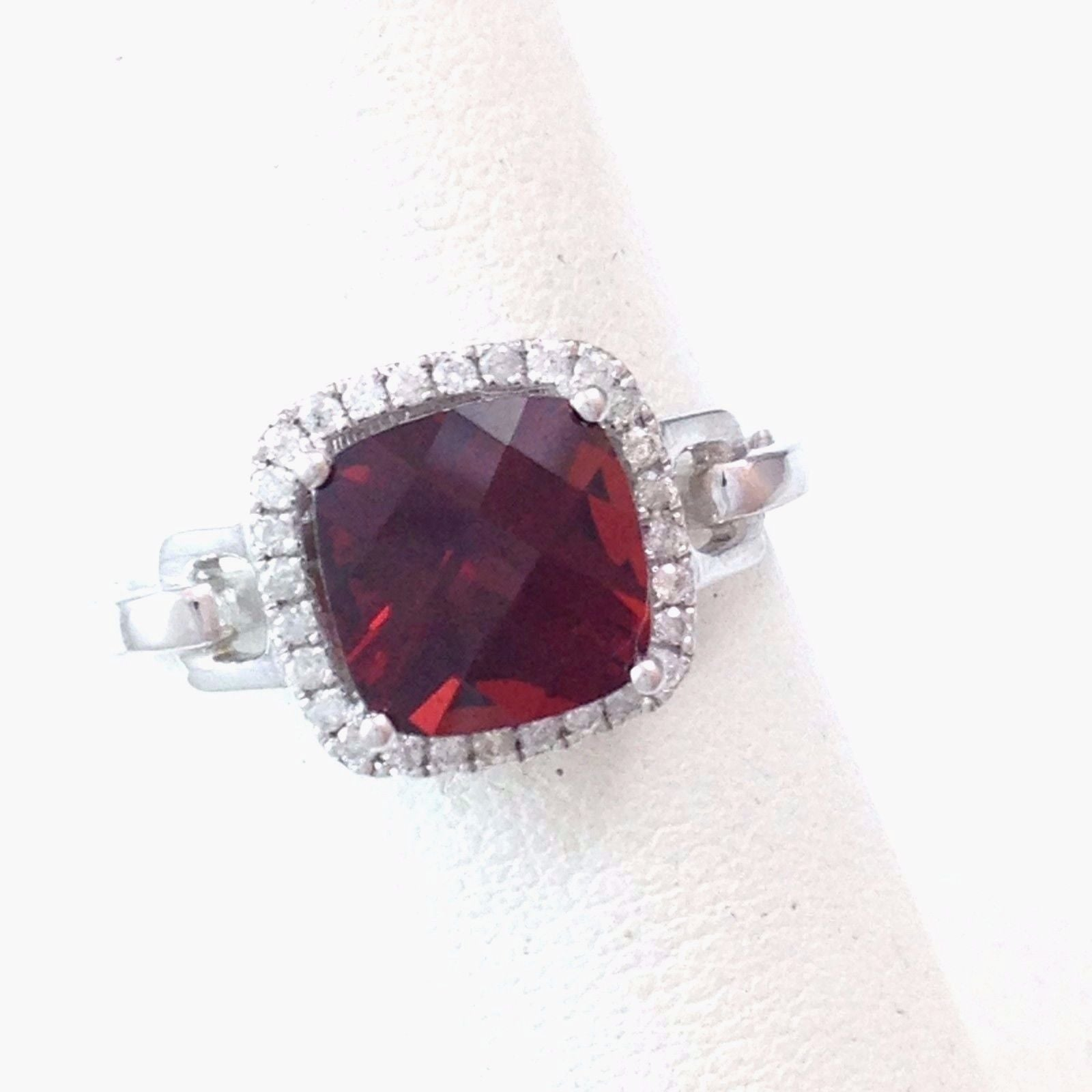 Genuine 2.75 ct Garnet & Diamond Ring 14K white gold $1950 NWT