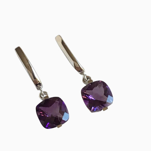 Genuine Amethyst 7mm 14K 2.3 gr. white gold earrings  NWT $675
