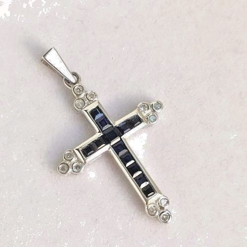 14k White Gold & Genuine Blue Sapphire Cross Pendant NWT $800