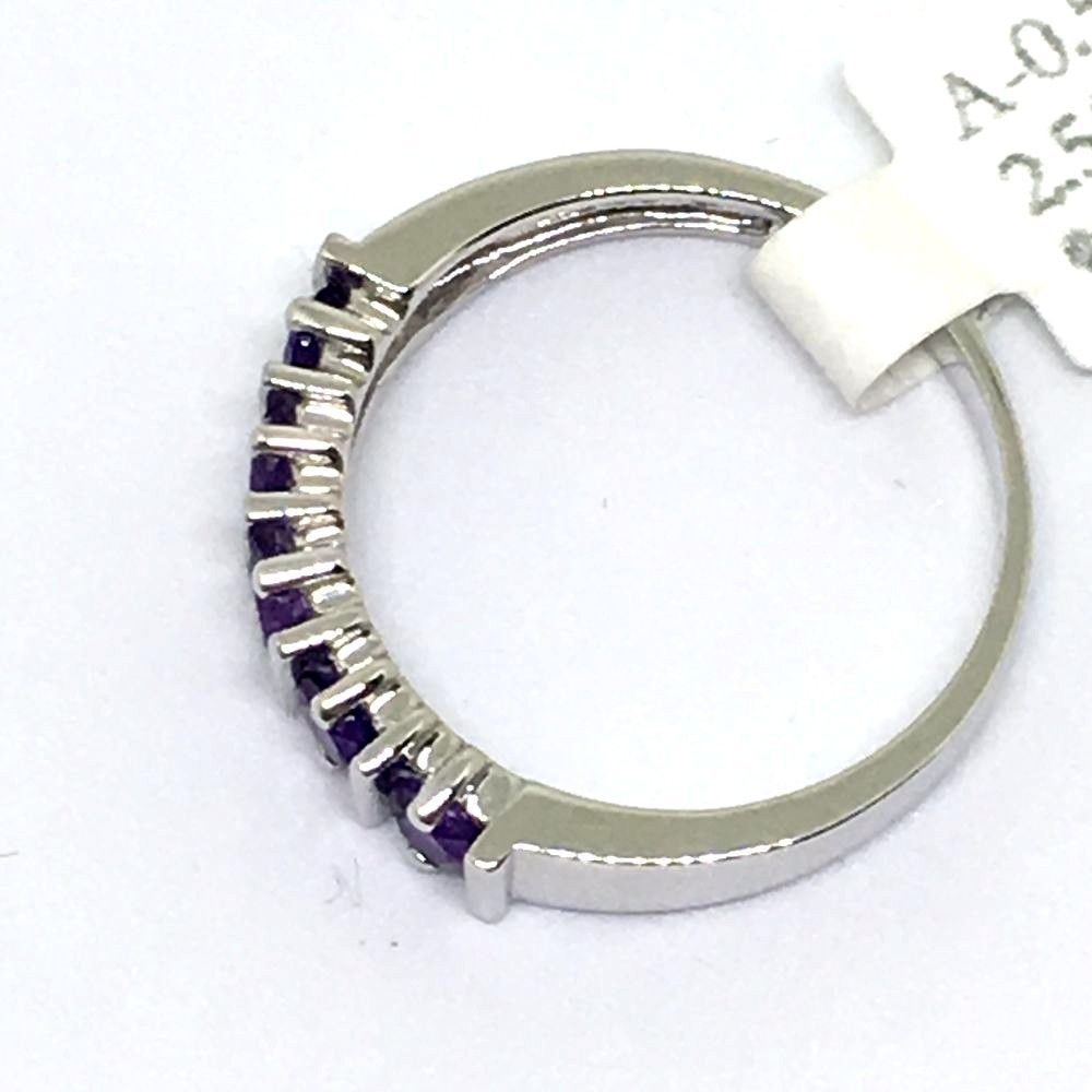 Genuine Amethyst Ring 14K white gold NWT $550 Size 6 1/2