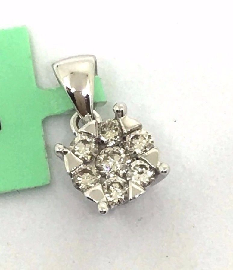 10K White Gold & Genuine Diamond Pendant NWT $780