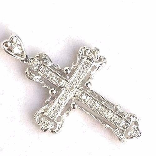 14k White Gold & Genuine Pave Diamonds Cross Pendant NWT $800