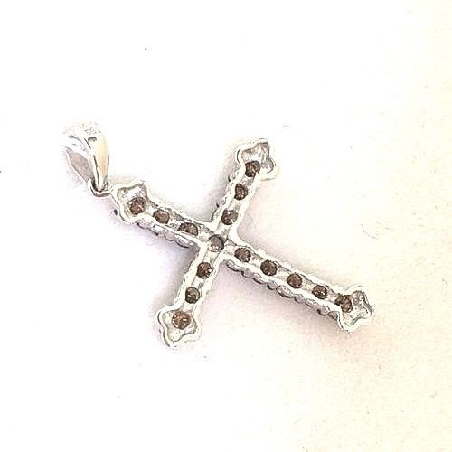 14k White Gold & Genuine White and Champagne Diamonds Cross Pendant NWT $1060
