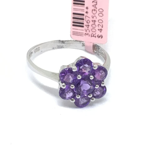 Genuine Amethyst Ring 14K white gold NWT $420 Size 8 1/2