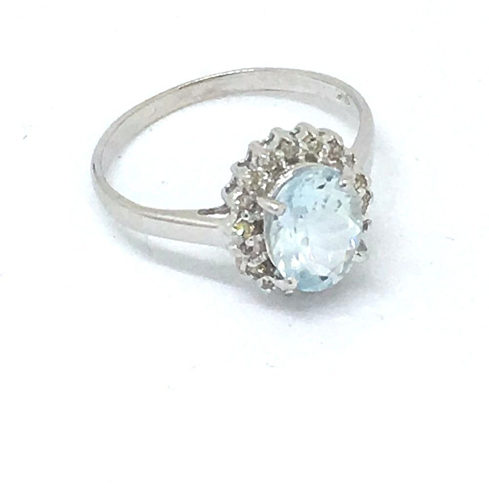Genuine 1.1 ct Aquamarine & Diamond 14K white gold ring $660 NWT