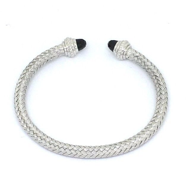 18K white gold plated silver bangle with genuine faceted onyx NWT $660
