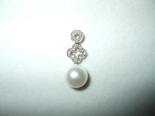 Genuine Freshwater Pearl  and diamond Pendant 14K yellow gold $410