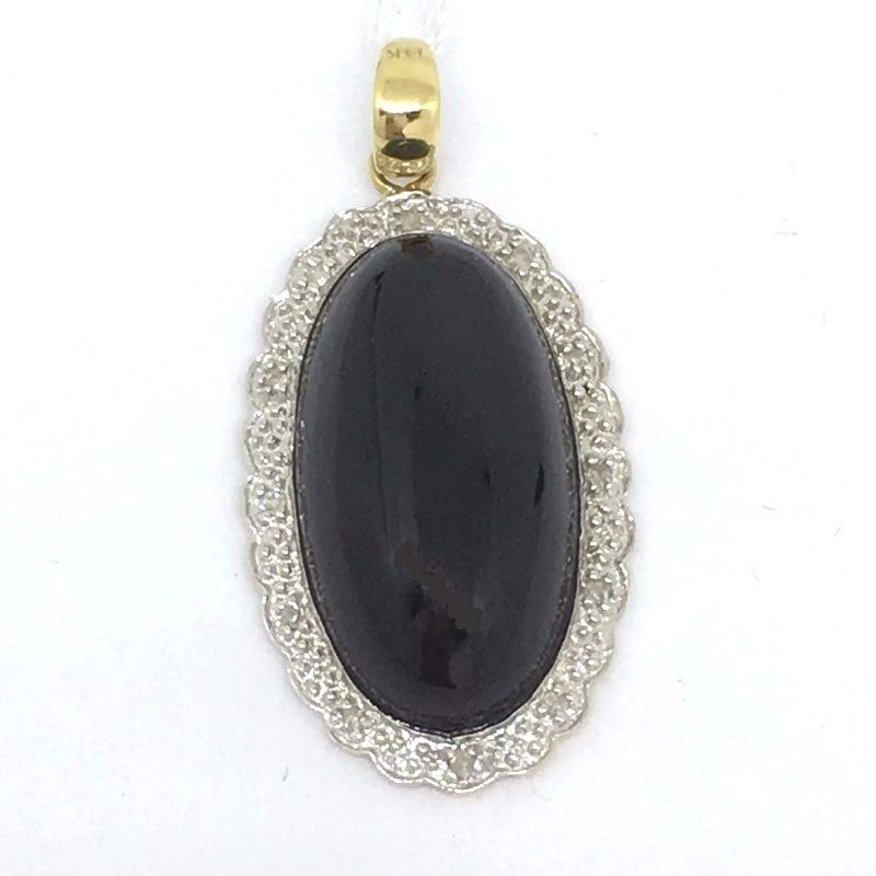 Big Oval Onyx & Diamond Two Tone pendant 14K white/yellow gold NWT $681