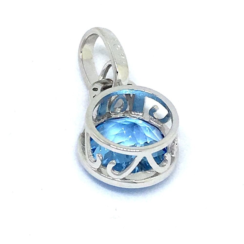 Genuine Blue Topaz & Diamond Pendant 14K white gold NWT $680