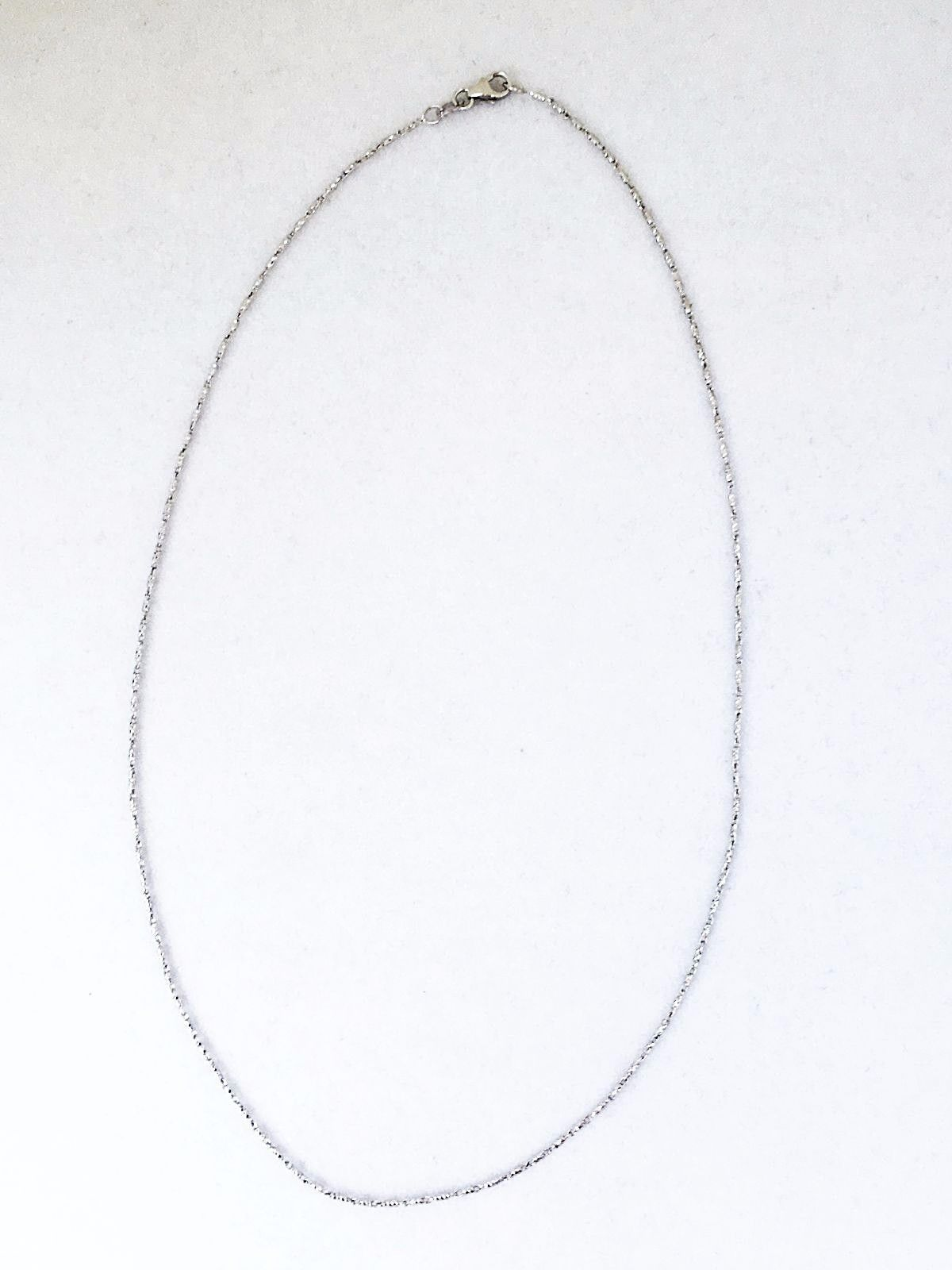 16 inch 14K white gold Raso chain, lobster clasp 3.0 grams 1.0 mm $420