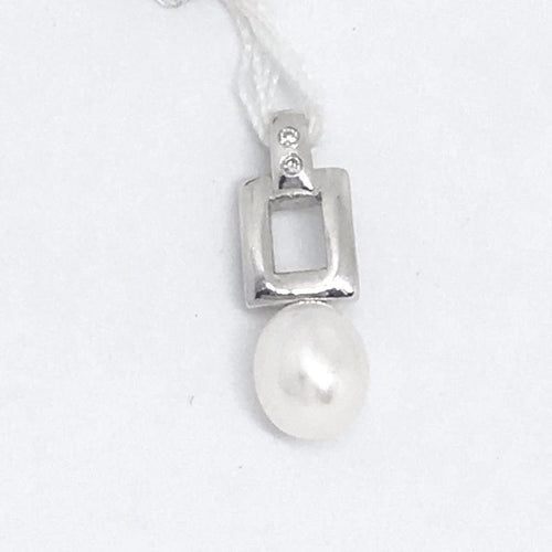 14K white gold Freshwater Pearl & Genuine Diamond Pendant NWT $350
