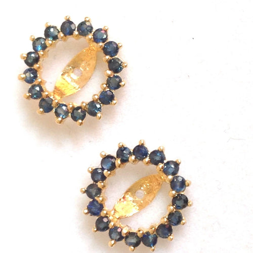 Genuine Blue Sapphire Earring Jackets 1.24 cttw 14K yellow gold NWT $590